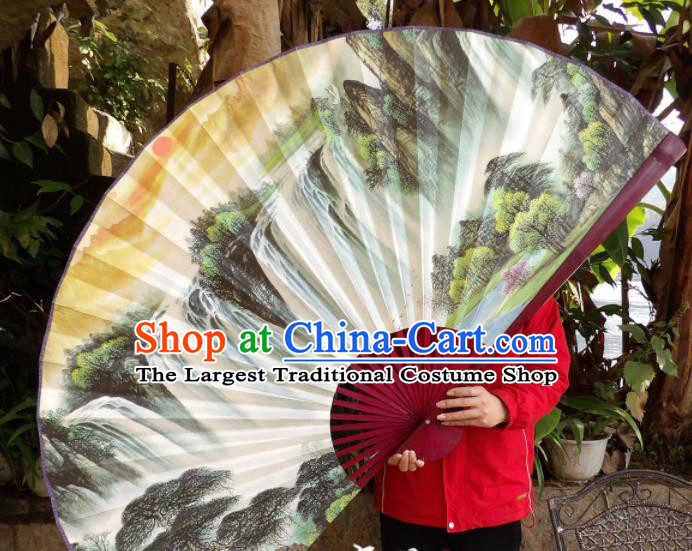 Chinese Traditional Fans Decoration Crafts Hand Painting Waterfall Landscape Red Frame Folding Fans Paper Fans