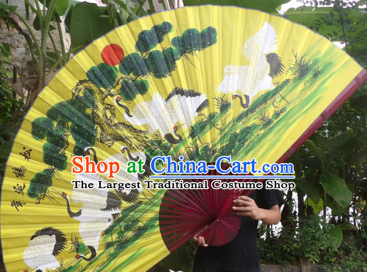 Chinese Traditional Fans Decoration Crafts Red Frame Painting Cranes Folding Fans Yellow Paper Fans