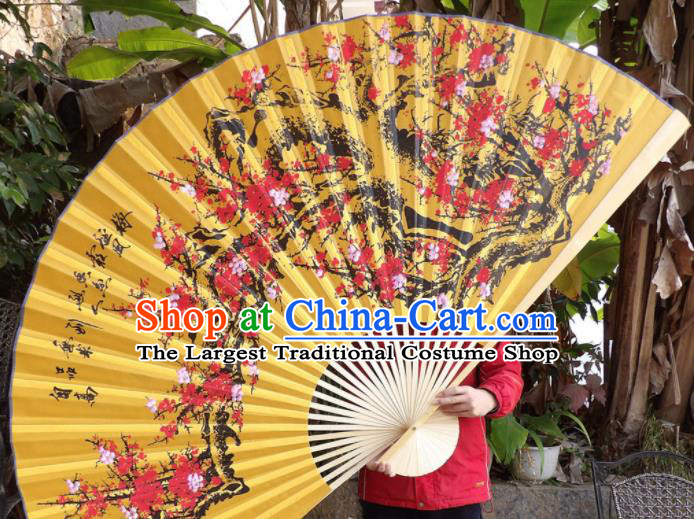 Chinese Traditional Fans Decoration Crafts Painting Plum Blossom Wood Frame Folding Fans Yellow Silk Fans