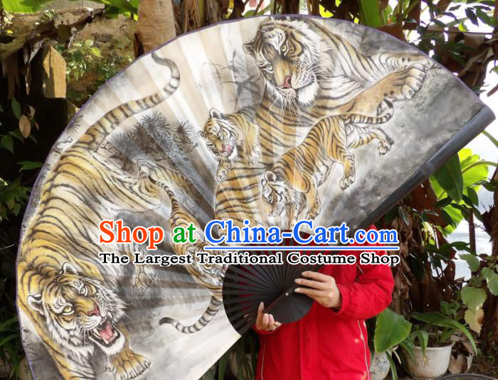 Chinese Traditional Fans Decoration Crafts Painting Tigers Black Frame Folding Fans Paper Fans