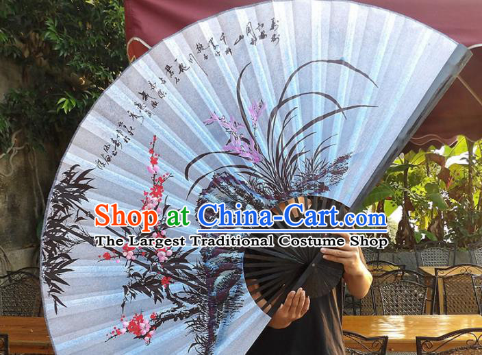 Chinese Traditional Handmade Silk Fans Decoration Crafts Ink Painting Plum Blossom Orchid Bamboo Black Frame Folding Fans