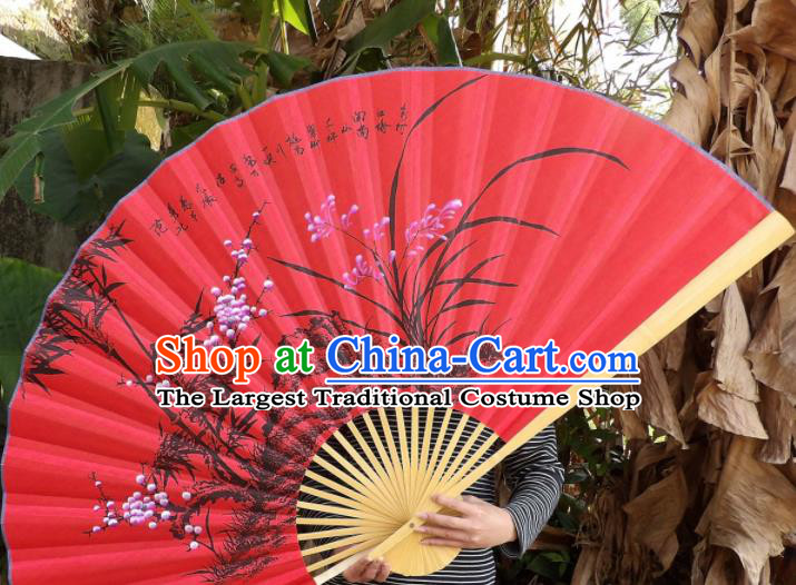 Chinese Traditional Handmade Red Silk Fans Decoration Crafts Ink Painting Orchids Folding Fans
