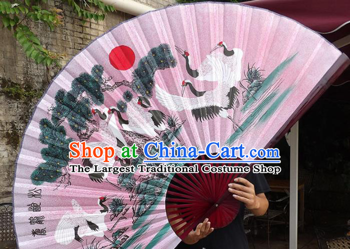 Chinese Traditional Handmade Pink Silk Fans Decoration Crafts Ink Painting Cranes Red Frame Folding Fans