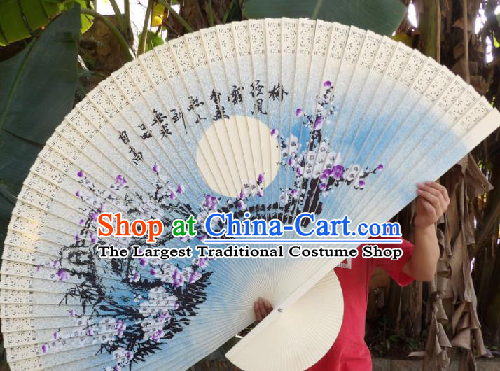 Chinese Traditional Handmade Wood Fans Decoration Crafts Ink Painting Purple Plum Blossom Folding Fans