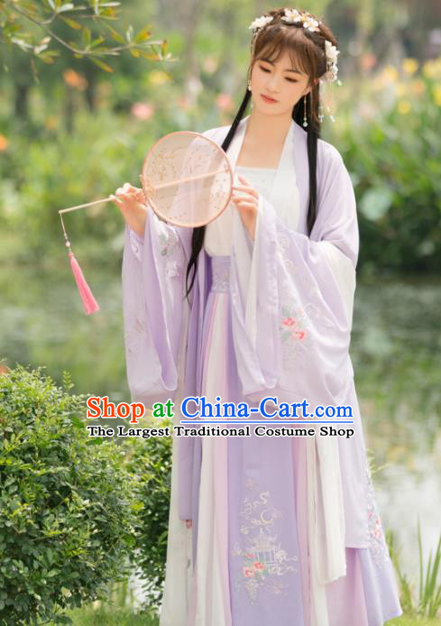 Traditional Chinese Tang Dynasty Palace Princess Embroidered Costumes Ancient Peri Purple Hanfu Dress for Rich Women