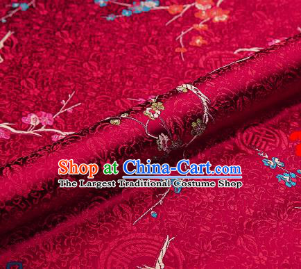 Asian Chinese Purplish Red Brocade Fabric Traditional Plum Blossom Pattern Design Satin Tang Suit Silk Fabric Material