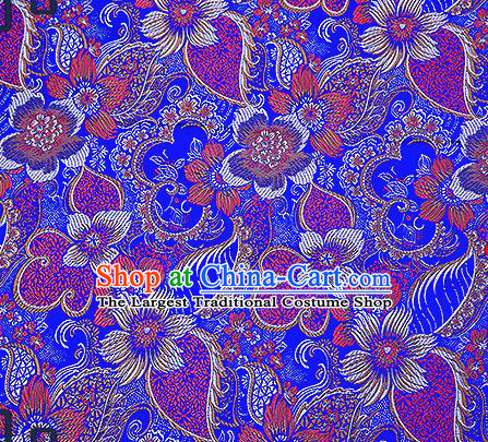 Chinese Traditional Royalblue Brocade Fabric Classical Palace Flowers Pattern Design Satin Tang Suit Silk Fabric Material