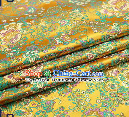 Chinese Traditional Golden Brocade Drapery Classical Peony Pattern Design Satin Tang Suit Qipao Silk Fabric Material