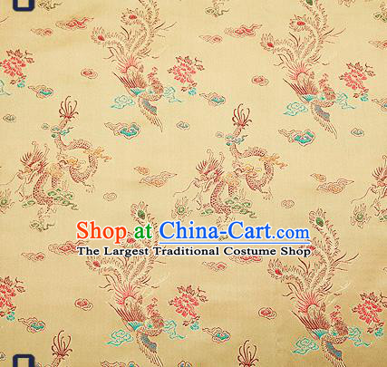 Traditional Chinese Classical Light Golden Satin Brocade Drapery Dragon Phoenix Pattern Design Qipao Dress Silk Fabric Material