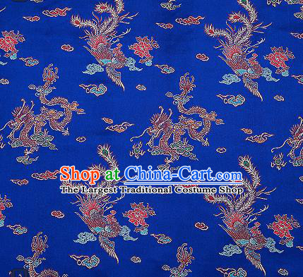 Traditional Chinese Classical Royalblue Satin Brocade Drapery Dragon Phoenix Pattern Design Qipao Dress Silk Fabric Material