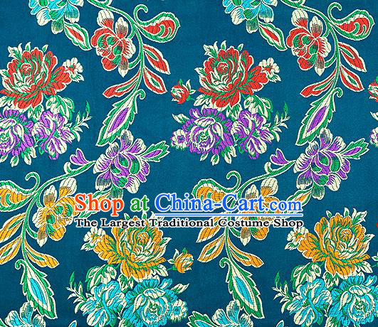 Traditional Chinese Tang Suit Silk Fabric Lake Blue Brocade Material Classical Peony Pattern Design Satin Drapery