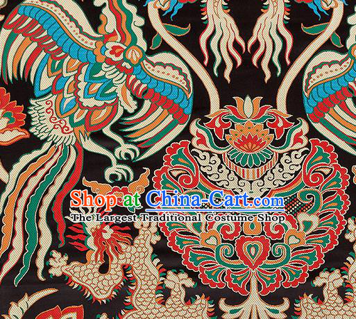 Asian Chinese Traditional Black Satin Fabric Tang Suit Nanjing Brocade Silk Material Classical Phoenix Dragon Pattern Design Drapery