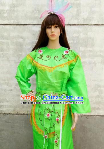 Chinese Traditional Folk Dance Green Costumes Ancient Peking Opera Diva Clothing for Women