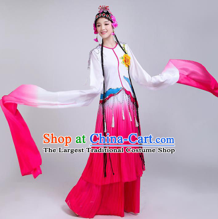 Chinese Traditional Classical Dance Costumes Folk Dance Beijing Opera Rosy Water Sleeve Dress for Women