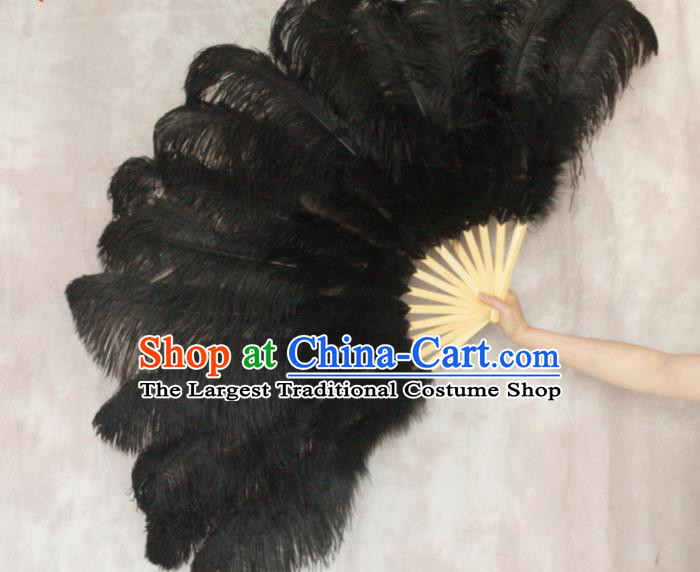Top Grade Black Feather Fans Halloween Cosplay Folding Fans Belly Dance Fan