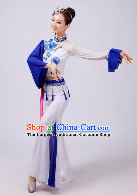 Chinese Traditional Classical Dance Costumes Folk Dance Yangko Dance White Clothing for Women