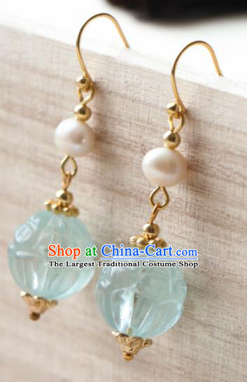 Traditional Chinese Earrings Ancient Handmade Palace Lady Blue Bead Ear Accessories for Women