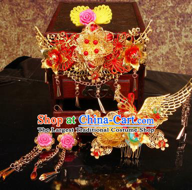 Chinese Traditional Handmade Hair Accessories Ancient Bride Xiuhe Suit Hairpins Complete Set for Women