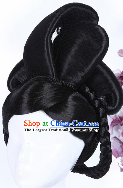 Traditional Chinese Drama Court Maid Wigs Sheath Ancient Palace Lady Handmade Chignon Hair Accessories for Women