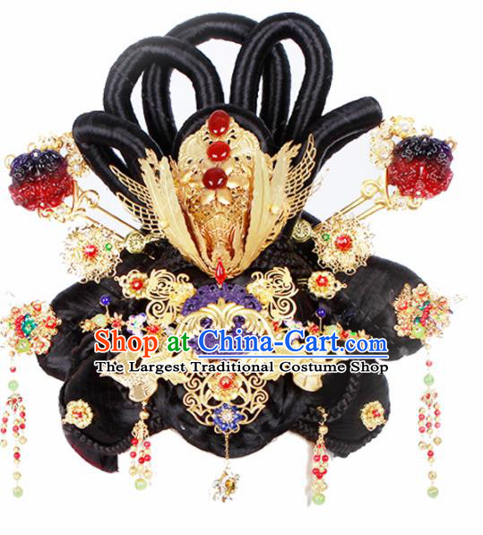 Chinese Traditional Handmade Hair Accessories and Wigs Ancient Queen Hairpins and Chignon for Women