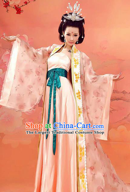 Chinese Traditional Tang Dynasty Imperial Consort Costumes Ancient Palace Lady Hanfu Dress and Headpiece for Women