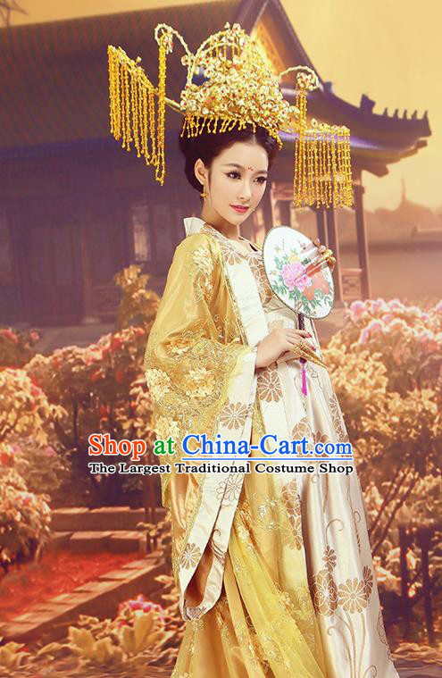 Chinese Ancient Cosplay Imperial Consort Replica Costumes Traditional Tang Dynasty Palace Lady Hanfu Dress and Headpiece for Women