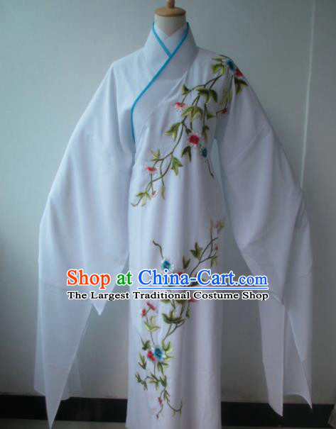 Chinese Traditional Peking Opera Niche Costume Ancient Scholar White Robe for Adults