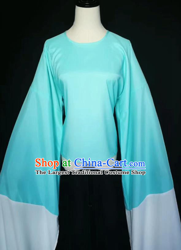 Chinese Traditional Peking Opera Costumes Ancient Water Sleeve Green Blouse for Adults
