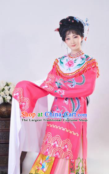 Chinese Traditional Peking Opera Queen Costumes Ancient Empress Rosy Dress for Adults