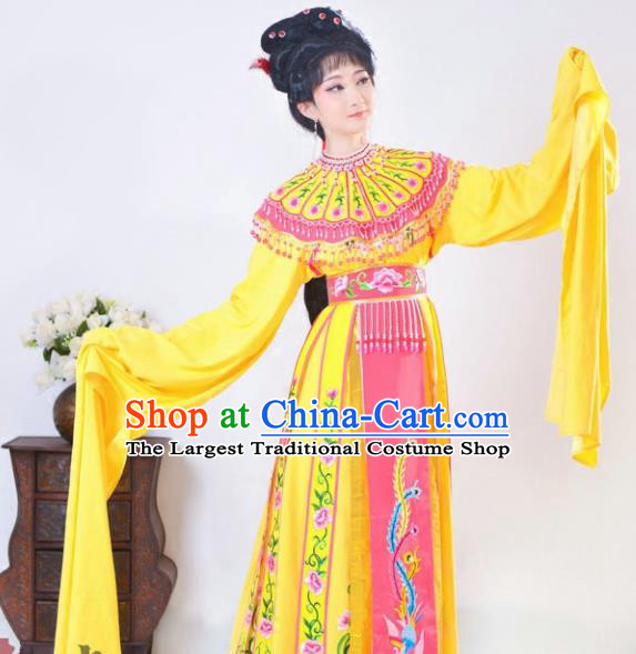 Chinese Traditional Peking Opera Queen Yellow Costumes Ancient Empress Dress for Adults