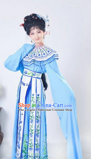 Chinese Traditional Peking Opera Queen Blue Costumes Ancient Empress Dress for Adults