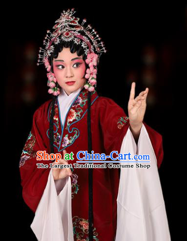 Chinese Traditional Peking Opera Pantaloon Costumes Ancient Dowager Countess Dress for Kids