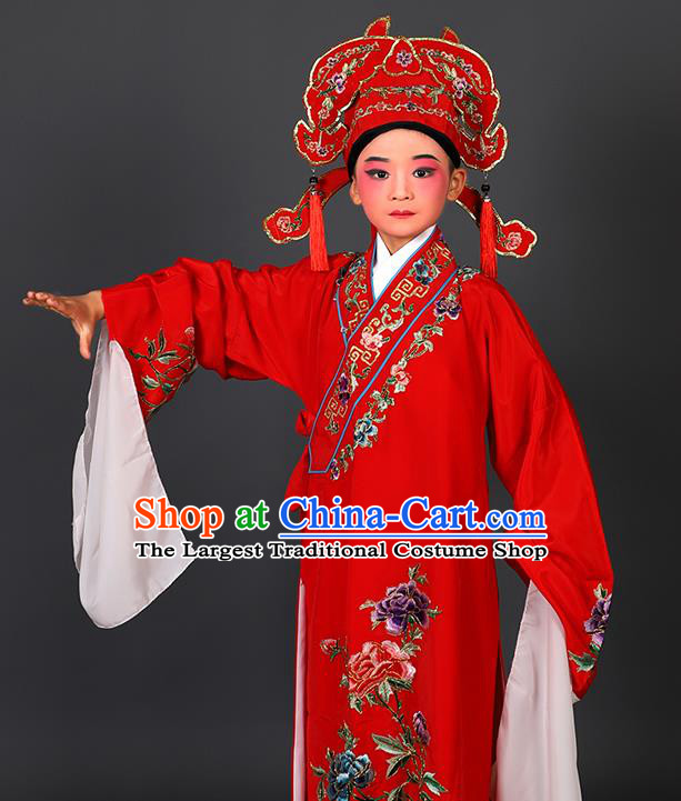 Chinese Traditional Peking Opera Niche Costume Ancient Scholar Red Robe and Hat for Kids