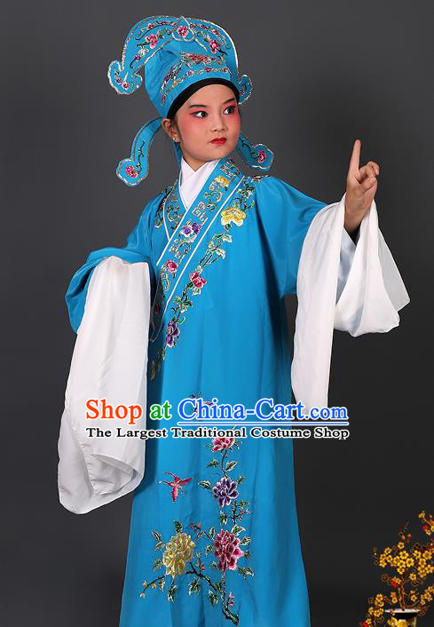 Chinese Traditional Peking Opera Niche Costume Ancient Scholar Blue Robe and Hat for Kids
