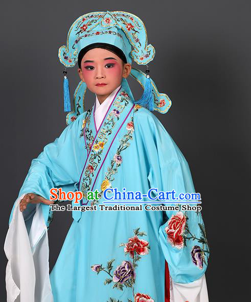 Chinese Traditional Peking Opera Niche Costume Ancient Scholar Light Blue Robe and Hat for Kids