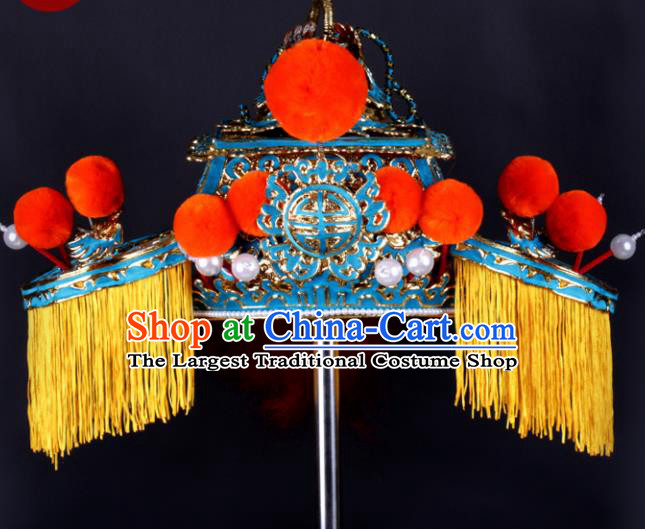 Chinese Traditional Peking Opera Senior Grand Tutor Hat Ancient General Helmet for Adults