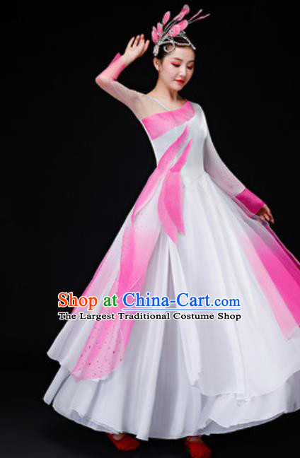 Chinese Traditional Folk Dance Costume Classical Dance Pink Dress for Women