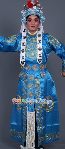 Chinese Traditional Peking Opera Takefu Costume Ancient Imperial Bodyguard Blue Embroidered Robe for Adults