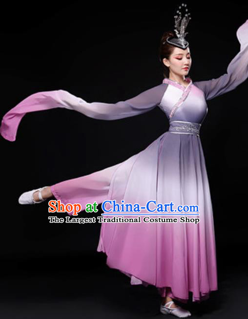 Chinese Traditional Folk Dance Costume Classical Dance Umbrella Dance Gradient Purple Dress for Women