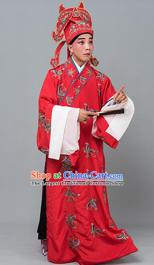 Chinese Traditional Peking Opera Niche Costume Ancient Gifted Scholar Red Butterfly Robe for Adults
