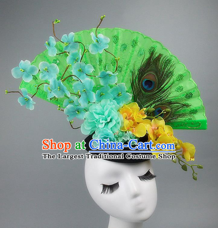 Handmade Halloween Cosplay Hair Accessories Chinese Stage Performance Green Flowers Hair Clasp Headwear for Women
