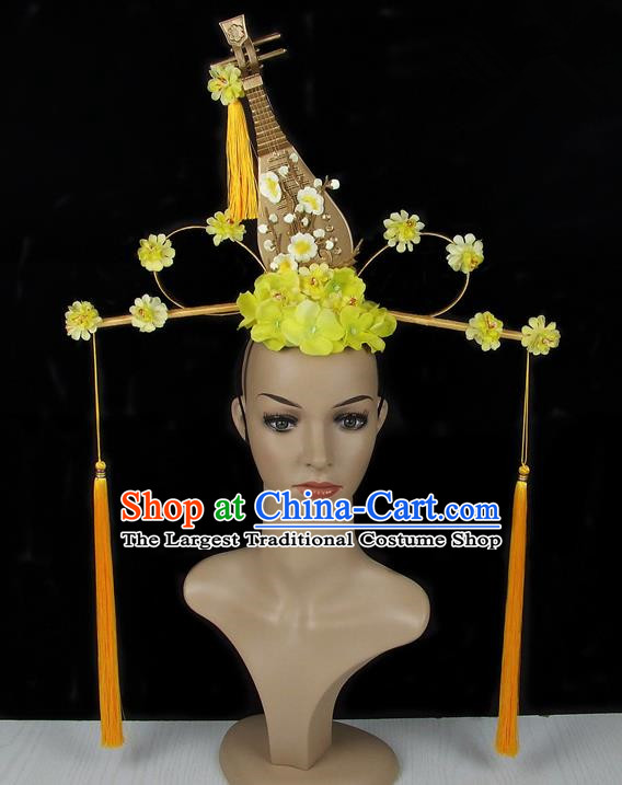 Handmade Halloween Golden Lute Flowers Hair Accessories Chinese Stage Performance Hair Clasp Headdress for Women