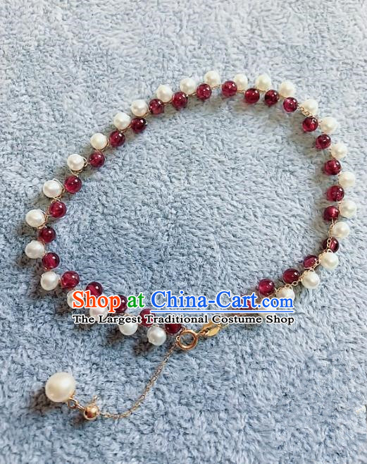 Top Grade Chinese Handmade Jewelry Accessories Bracelet Traditional Garnet Bangle for Women