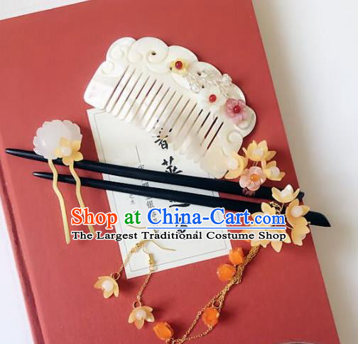 Handmade Chinese Ancient Hair Accessories Shell Hair Comb Hanfu Hairpins Complete Set for Women