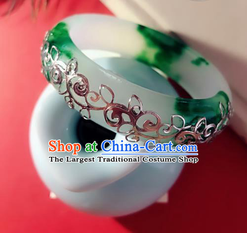 Top Grade Chinese Handmade Jade Bracelet Traditional Bride Bangle Jewelry Accessories for Women