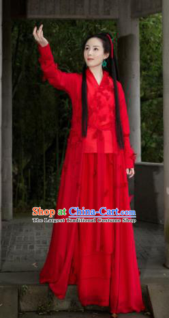 Chinese Ancient Traditional Red Hanfu Dress Qin Dynasty Swordswoman Embroidered Costumes for Women