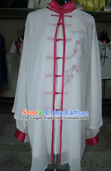 Chinese Traditional Kung Fu Silk Costumes Martial Arts Tai Chi Training Embroidered Plum Blossom Shirt for Women