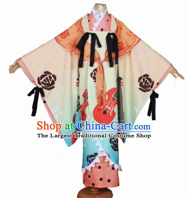 Asian Japanese Traditional Cosplay Costumes Ancient Princess Furisode Kimono Yukata Clothing for Women