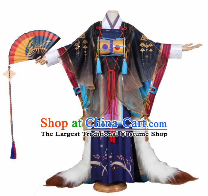 Asian Japanese Traditional Swordsman Costumes Ancient Cosplay Prince Onmyoji Clothing for Men