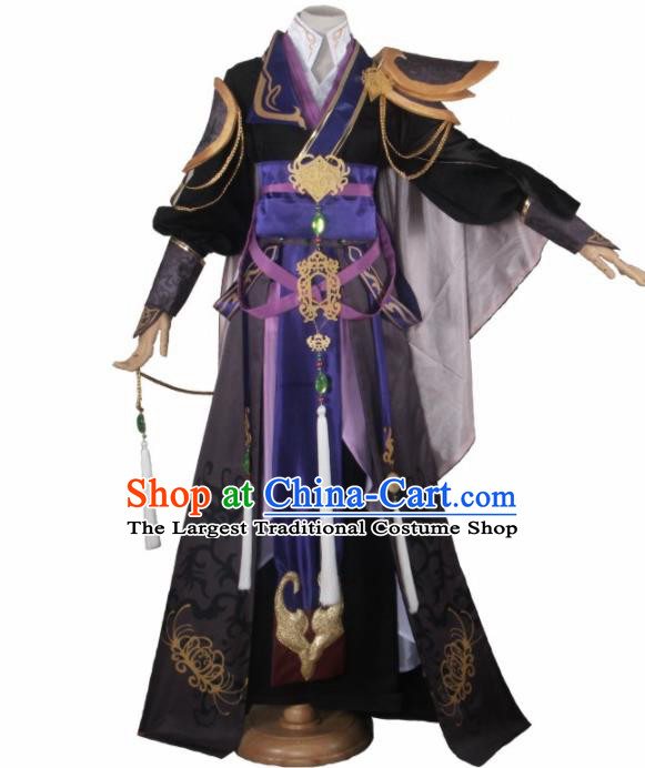 Chinese Traditional Cosplay Prince Black Costumes Ancient Swordsman Clothing for Men